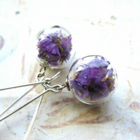 Antique Silver Tone and Dried Statice Flower Hand Blown Glass Orb Earrings