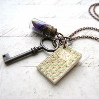 Book Lover - Handmade Copper Chain Necklace Miniature Book, Vintage Key, Bottle