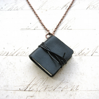 Petite Floral - Handbound Miniature Black Leather Note Book Sketchbook Necklace