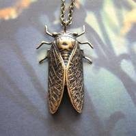 Lovely Bug - Handmade Antiqued Brass Cicada Bug Insect Pendant Necklace