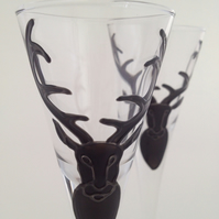Pair of Black Stag schnapps glasses