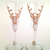Pair of White Stag schnapps glasses
