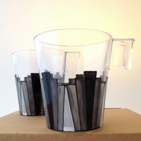 Pair of Deco Black and Grey coffee cups