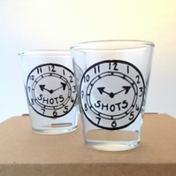 Pair of Time for Shots shot glasses