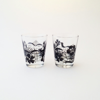 Pair of Black Lace shot glasses