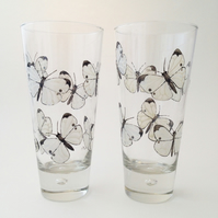 Pair of Cabbage White Butterfly 16 oz  Hi ball Glasses