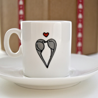 Love Birds espresso cup and saucer  ( Valentine )