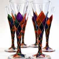Set of 6 Harlequin Liqueur Glasses