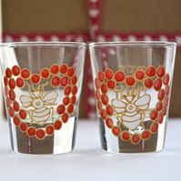Bee Mine shot glasses ( Valentine )