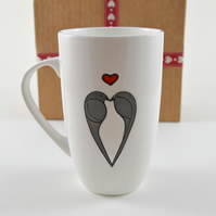 Love Birds fine bone china latte mug ( Valentine )