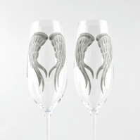 Angel Wings Champagne Flutes