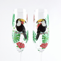 Toucan Champagne Flutes