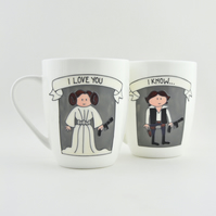 Leia and Han Bone China Mugs