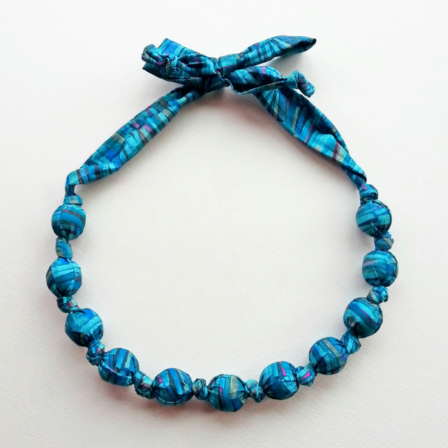 Blue Liberty Print Fabric Necklace - Dr Tulloch book print