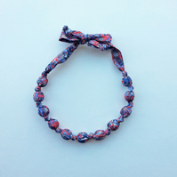 Red, White & Blue Liberty Print Fabric Necklace - Willow Rose Flower Print