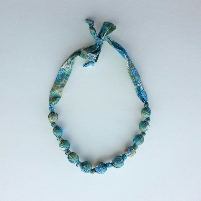 Turquoise Liberty Print Fabric Necklace - Peacock Feather Print - Hera print