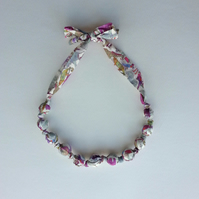 Purple Liberty Print Fabric Necklace - Animal Print - Queue for the Zoo print