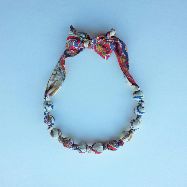 Multicoloured Liberty Print Fabric Necklace - Lord Paisley Print