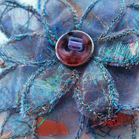 Blue Sparkly Flower Brooch