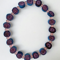 Short Blue & Pink Spiral Patterned Felt Necklace