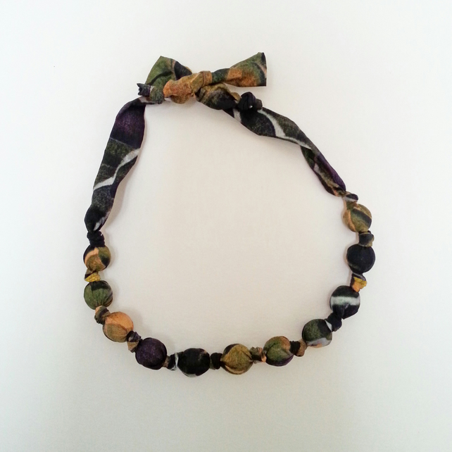 Mustard, Black & Purple Liberty Print Fabric Necklace - Iridescence Print