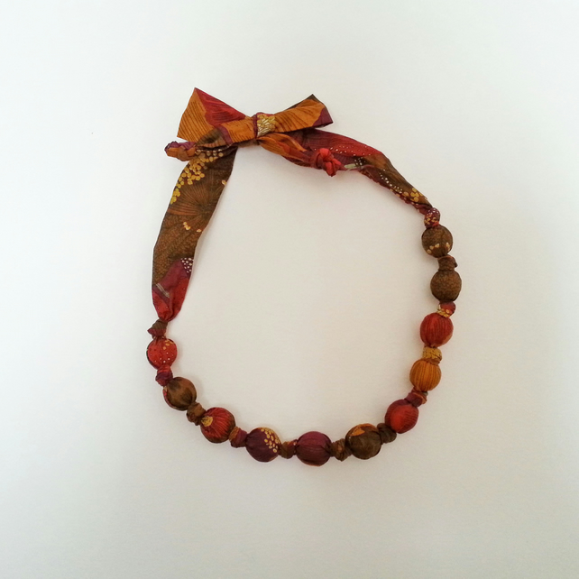 Mustard, Maroon, Rust, Brown, Purple Liberty Print Fabric Necklace Rose C Print