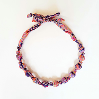 Purple, Pink & Orange Liberty Print Fabric Necklace - Felix and Isabelle print F