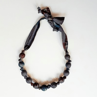 Brown Grey Blue Liberty Print Fabric Necklace - Denise Eva Print Brown