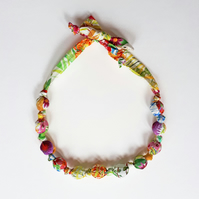 Green Pink Orange Yellow Cream Liberty Print Fabric Necklace -Tresco Print Green