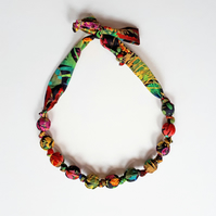 Black Pink Green Yellow Red Blue Liberty Print Fabric Necklace-Tresco Print Neon