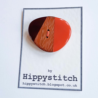 Coral, Wood & Brown Button Brooch