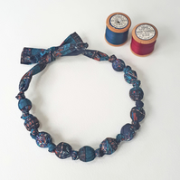 Teal Navy Black Pink Red Orange Liberty Print Fabric Necklace - Forest Stripe