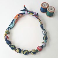 Teal Orange Yellow Green Pale Turquoise Liberty Print Fabric Necklace - Pavilion
