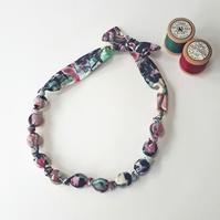 Pink Teal Black Grey Cream Liberty Print Fabric Necklace - Desert Landscape