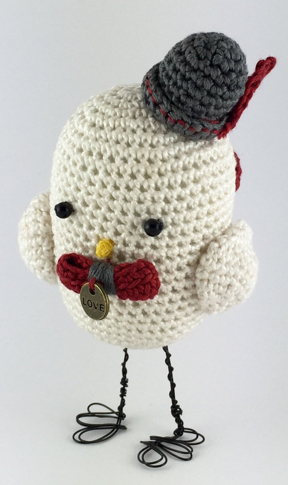 Love bird - Valentine's gift - Crochet bird