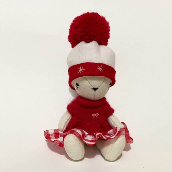 Teddy bear - Christmas bear- felt bear
