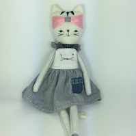 Cat doll -White Cat doll - Kitten Softie - Cat plush- FREE SHIPPING