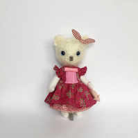Mohair kitten-Kitten doll- Felt mouse- Miniature mouse