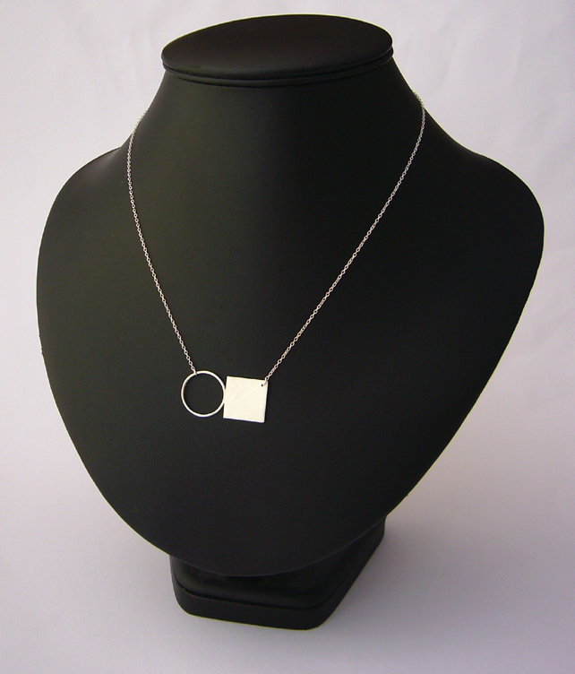 Circle & silver square necklace