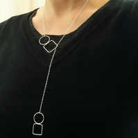 Double circle & square lariat necklace