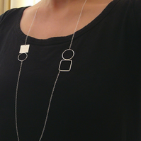 Double circle & square necklace