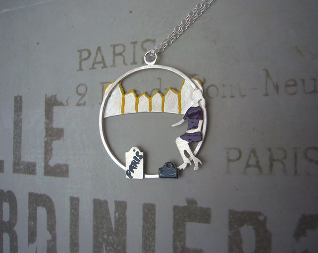 Shopping in Paris necklace, figurative jewellery, quirky jewellery