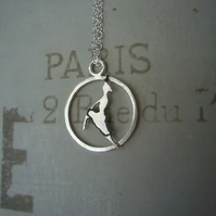 Dancer in Paris necklace, gifts for her, quirky jewellery, silver pendant