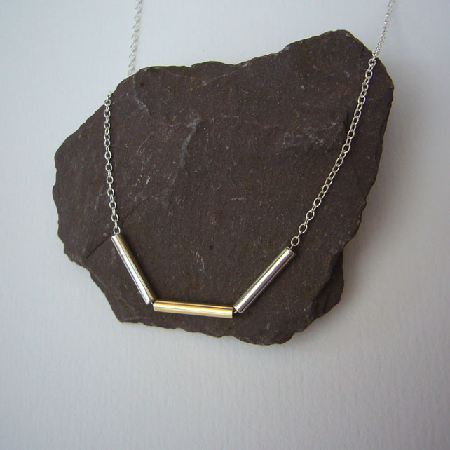 Silver & gold tube necklace