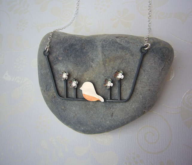 Bird & flower necklace