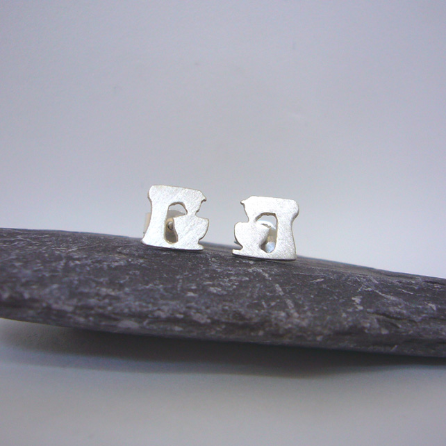 Silver food mixer earrings
