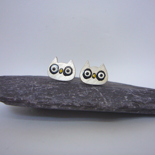 Sterling silver owl stud earrings, animal jewellery, owls, animal earrings