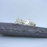 Sterling silver jigsaw earrings