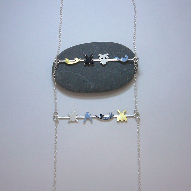 Sterling silver, brass & enamel double bar necklace