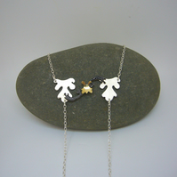 Sterling silver, brass & enamel necklace